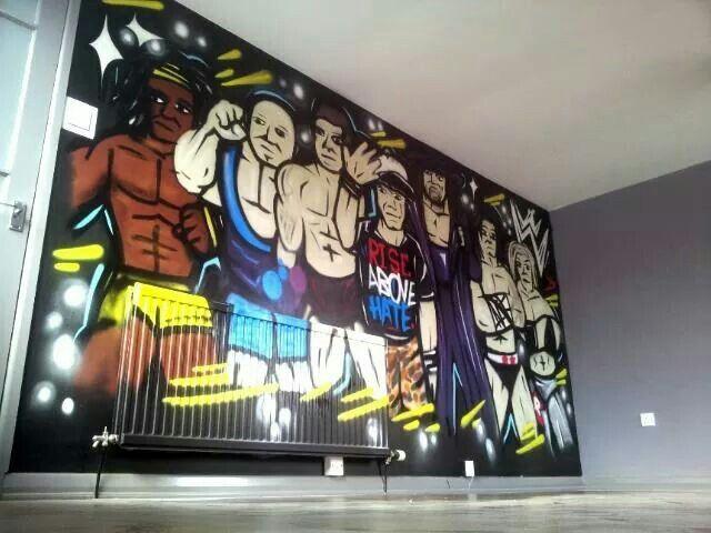 Wrestling Themed Bedroom Wrestling Wwe Johncena Kingsyzegraffitiworks Mural Art Bedroomart Bedroom Themes Bedroom Art Theme
