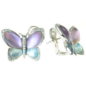 Diamantové náušnice s ametystom, london blue topásom, perleť6600eu