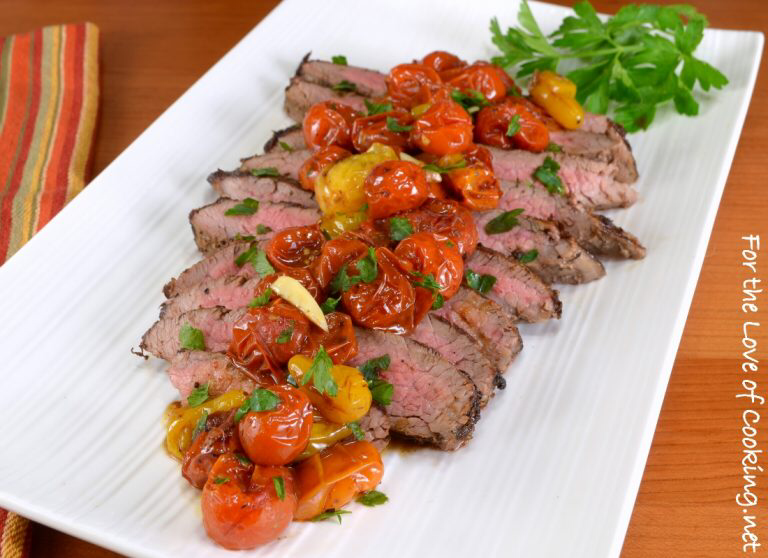 Italian Flank Steak with Balsamic Roasted Tomatoes #recipesforflanksteak
