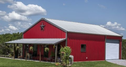 Walls patriot red trim charcoal roof galvalume for Barn with porch