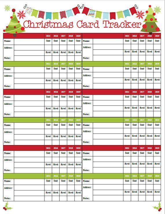Christmas Card Tracker 12 Per Page Printable Christmas Cards Christmas Planning Christmas Hacks