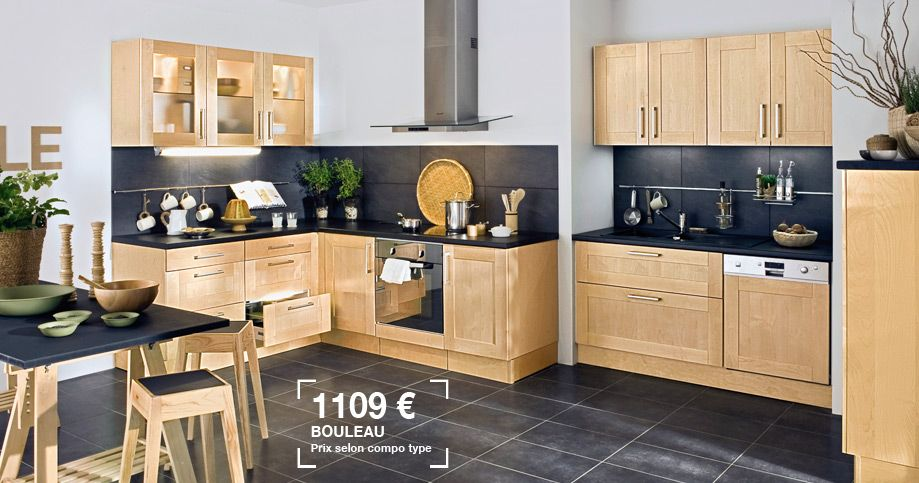 lapeyre cuisine origine en bouleau massif prix 1109 am nagement pinterest lapeyre. Black Bedroom Furniture Sets. Home Design Ideas