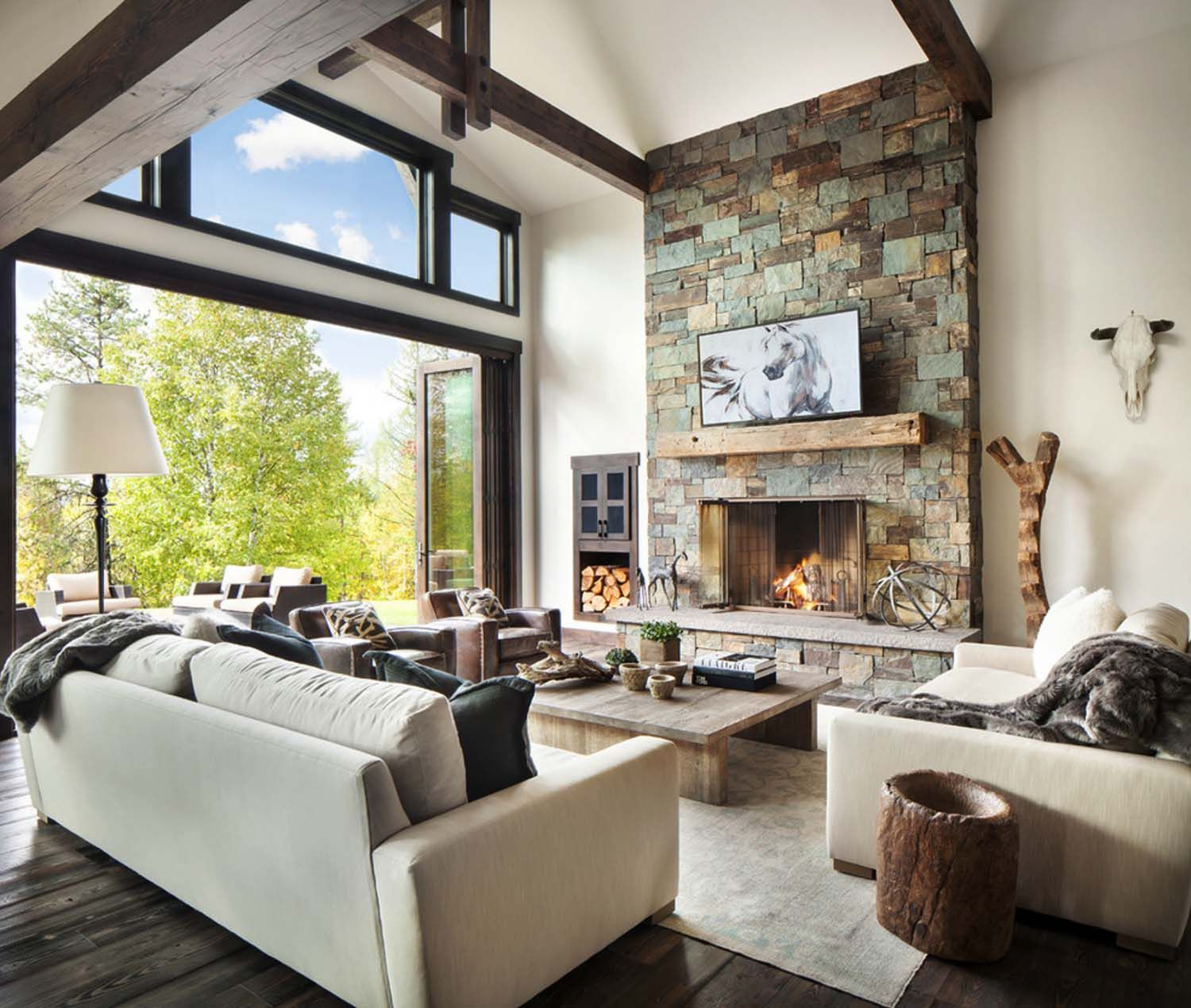 Rusticmodern dwelling nestled in the northern Rocky Mountains  Living Room  Modern rustic