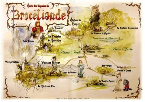 Carte Bretagne Broceliande.Carte De Broceliande Vintage Illustrations En 2019