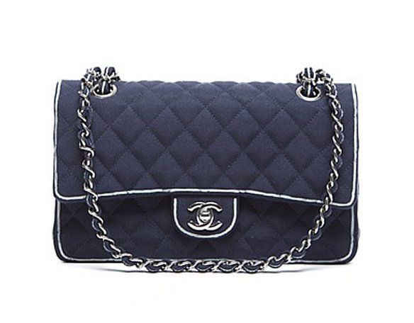 6a4c00da5d4d Chanel Pre-Owned Navy Canvas White Edging Medium Timeless Classic Flap Bag  on shopstyle.com