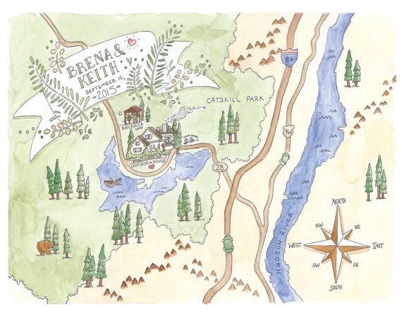 Custom Map Painted Wedding Venue Original Painting And Printable File Event Directions Rustic