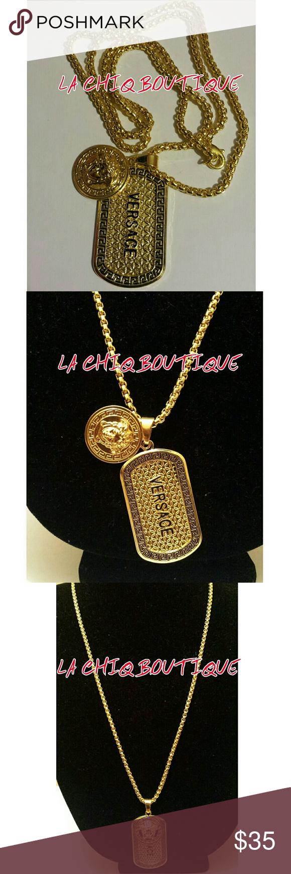 K gold plated medusa pendant dog tag chain brand new menus fashion