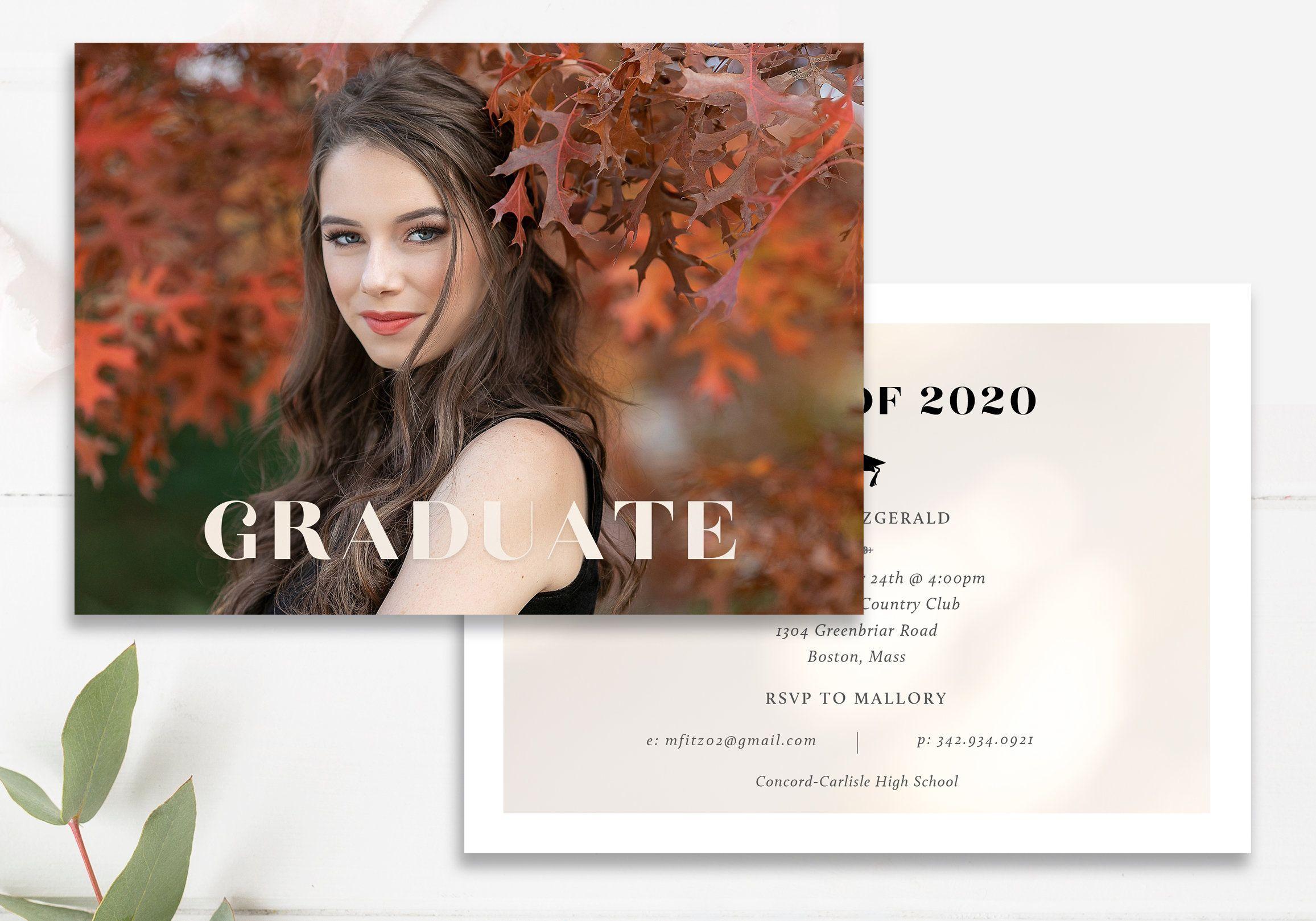 Gold Foil Graduation Announcement Template Modern Grad Etsy Grad Announcements Graduation Photo Cards Graduation Announcement Template