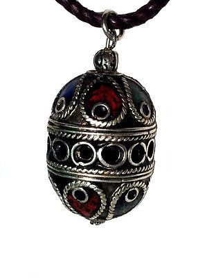 Moroccan Tribal Trade Bead Pendant Adjustable Necklace Enamel Wirework Metal