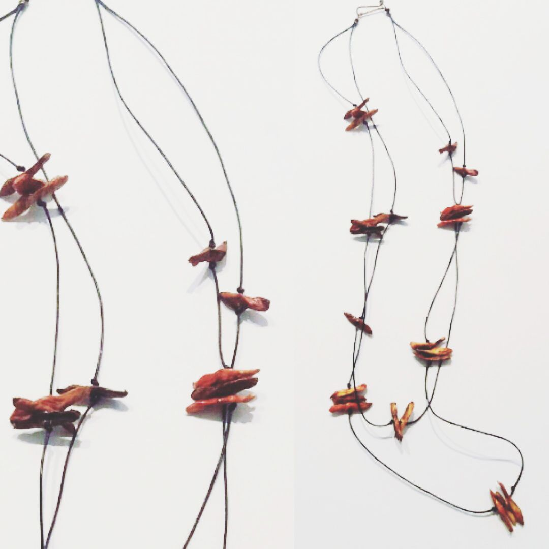 Radica collection_long necklace paper, cotton wire and copper