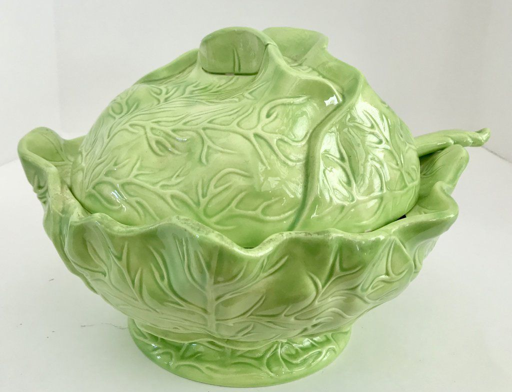 Holland Mold 11 Green Cabbage Soup Tureen With Lid And Spoon Green Cabbage Cabbage Soup Tureen
