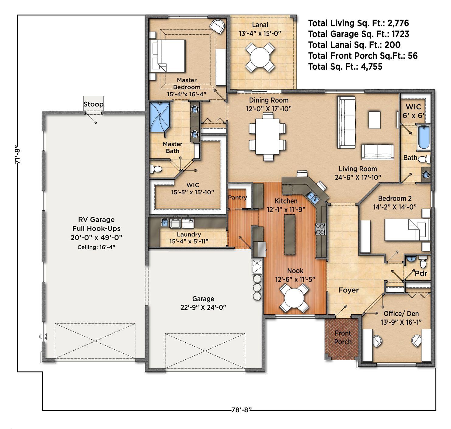 Rv Garage With Living Quarters: Sunset Harbor II Floorplan