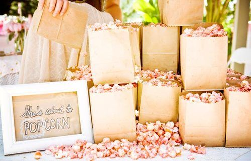 "cute popcorn bags for a ""ready to pop"" themed shower"
