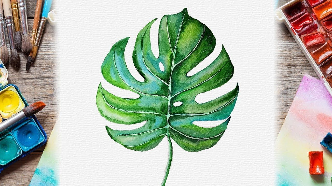 Watercolor Monstera Leaf Painting Botanical Illustration For