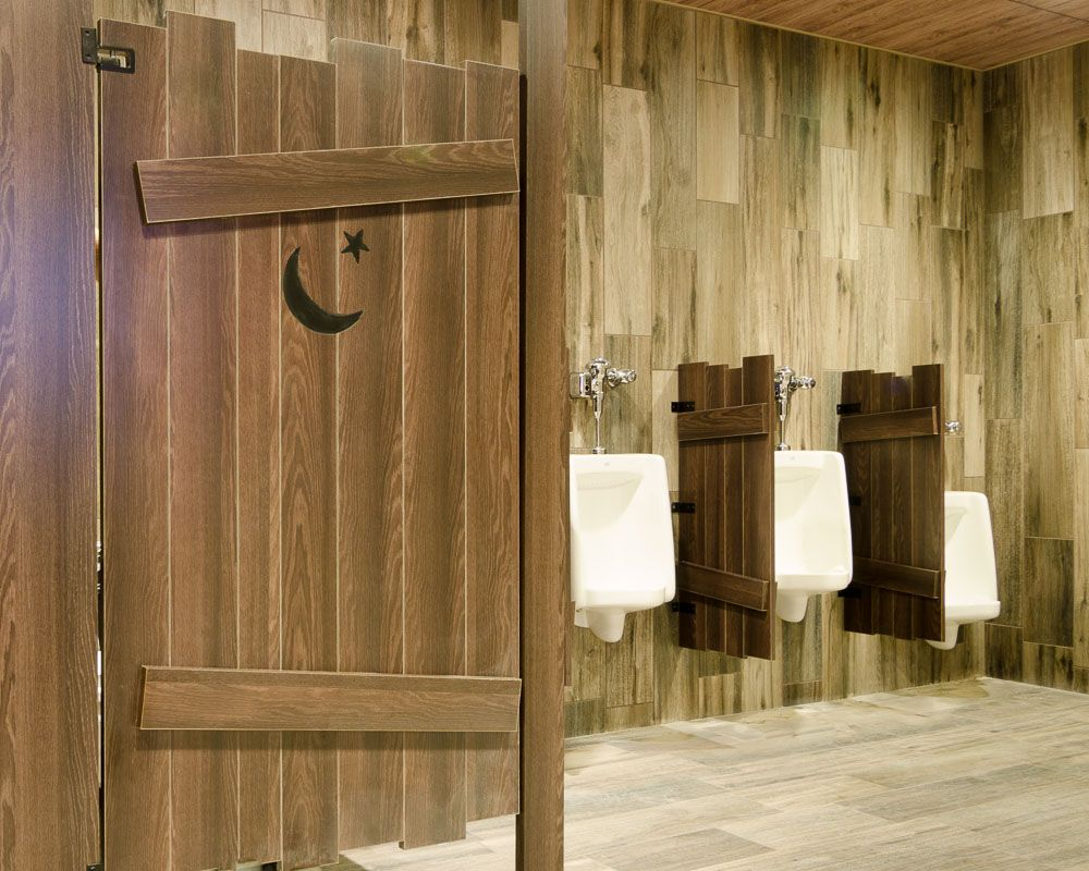 Ironwood Manufacturing custom shape laminate toilet partitions and