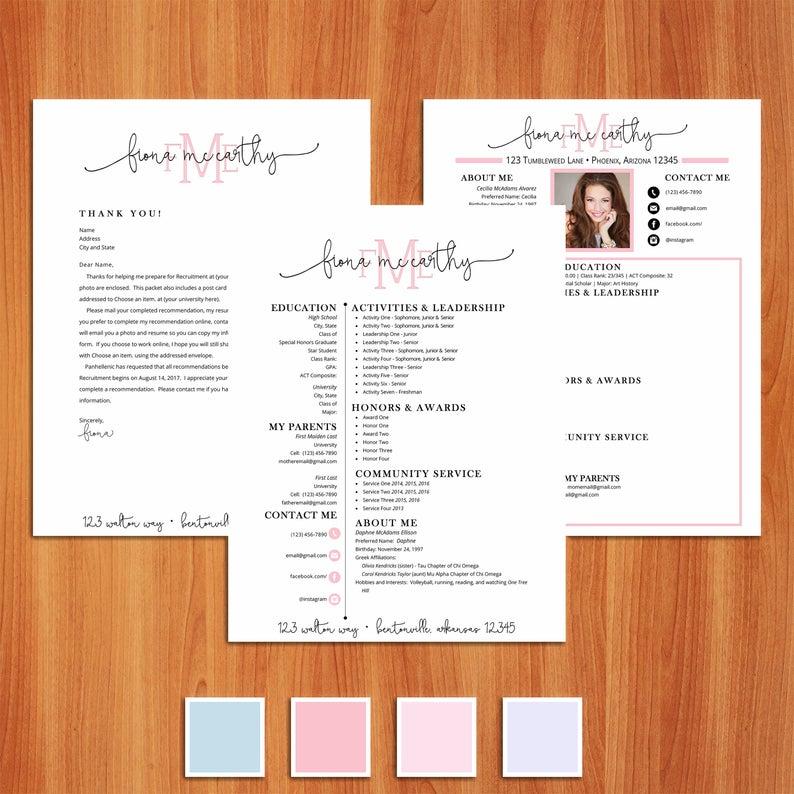 Fiona Digital Resume Sorority Recruitment Packet Recruitment Packet Social Resume Sorority Resume