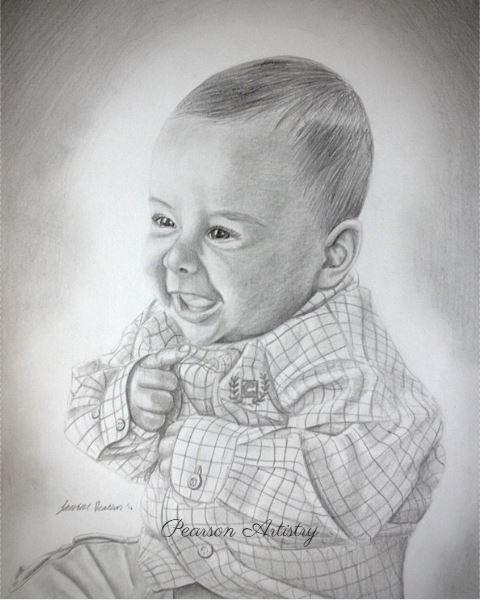 "Custom Baby Portrait From Photo ""Cute Boy"" Realistic 8x10 ..."
