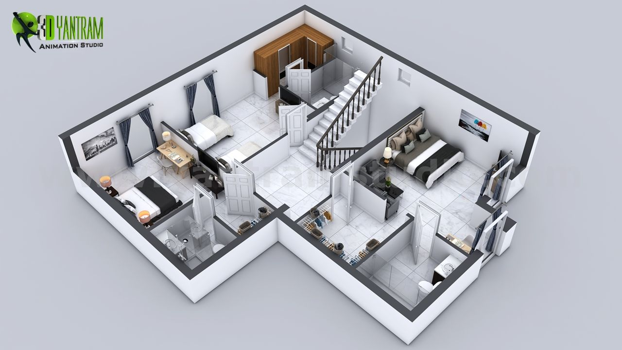3D #first #floor #Plan of 3 Story #House with #Cut-Section View by