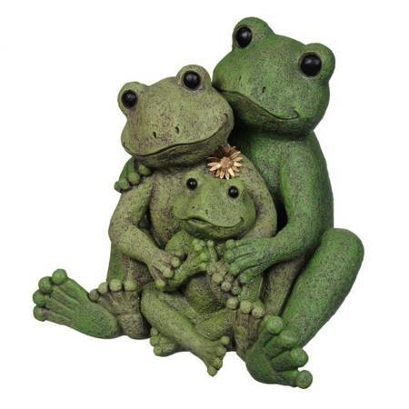 Outdoor Garden Decor Statues Photograph Loving Frog Family