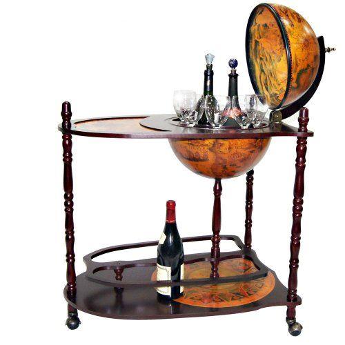 bar globe en bois massif sur chariot avec roulettes porte gobelet et porte bouteille jago. Black Bedroom Furniture Sets. Home Design Ideas
