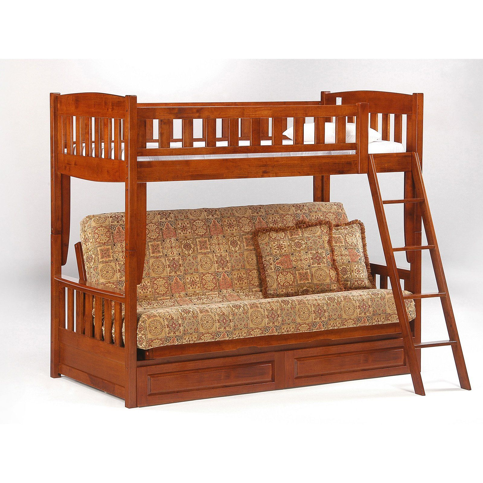 Loft bed with desk underneath  Have to have it Cinnamon Twin over Futon Bunk Bed