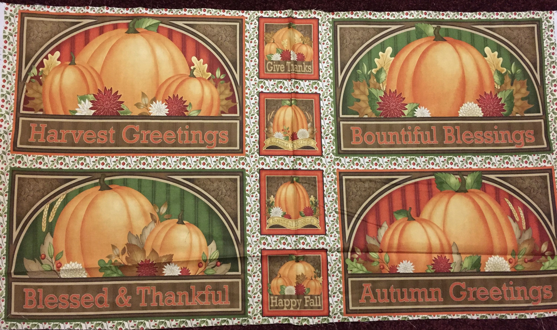 "Fall Harvest Pumpkin fabric panel Angela Anderson 44"" X 24"""