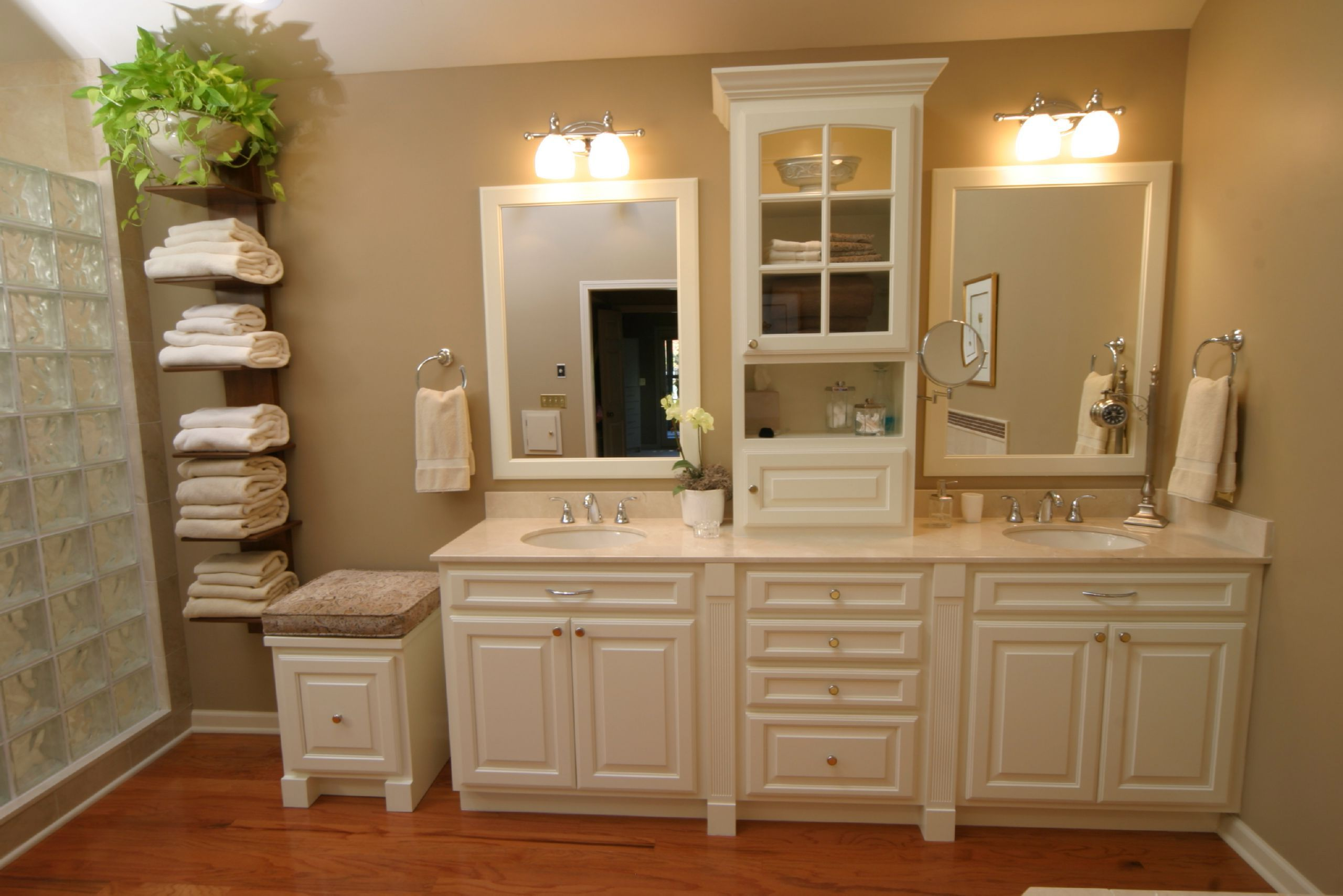 White Wooden Cabinet With Drawers And Storage Combined With Cream