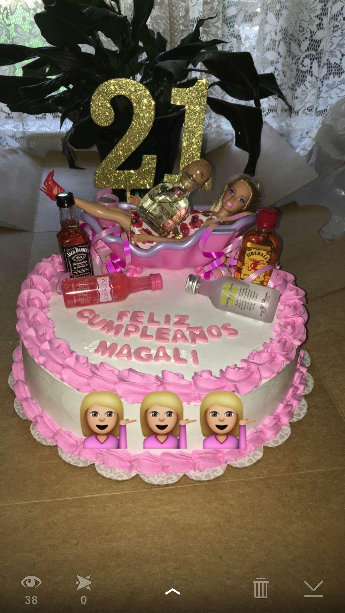 21st Drunk Barbie Birthday Cake