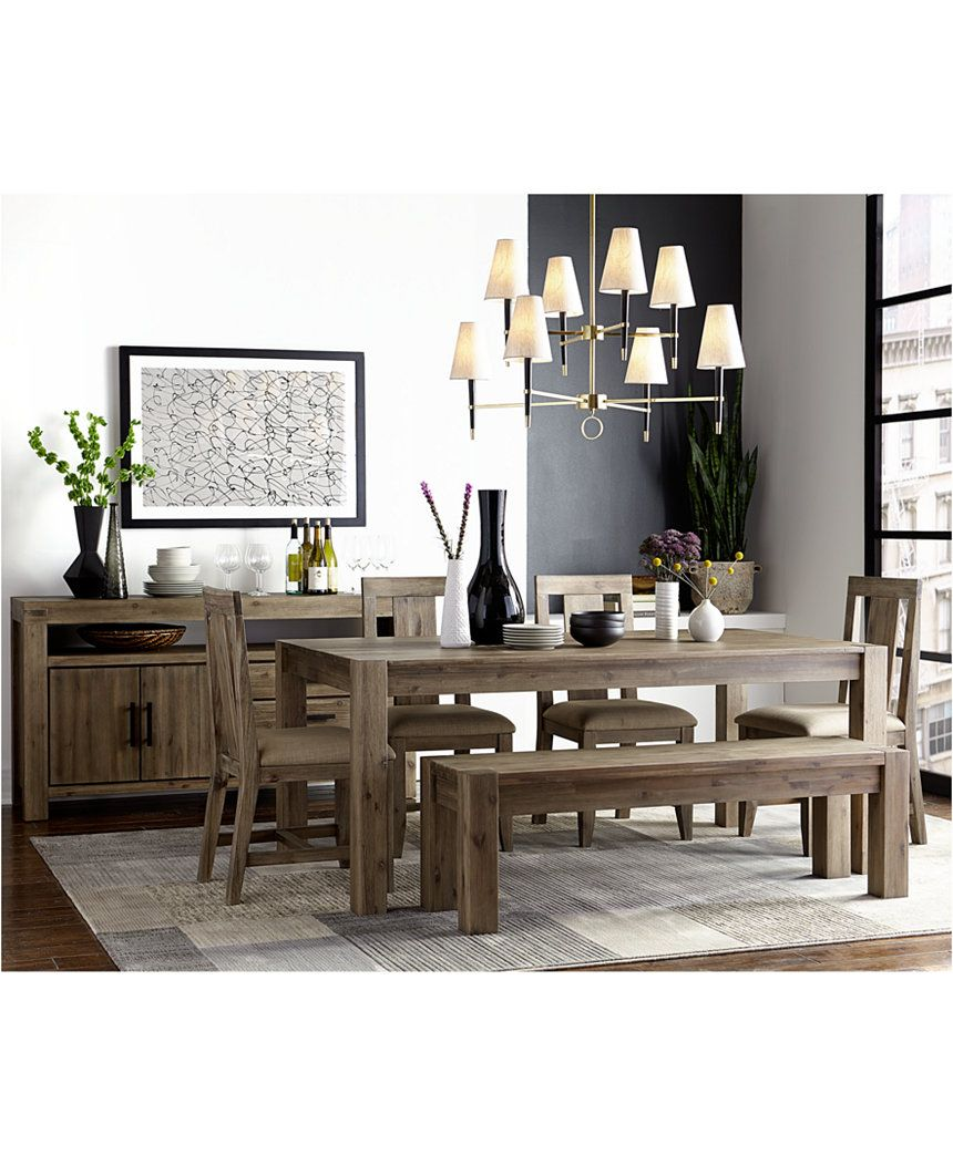 Canyon 6 piece dining set only at macys table 4 side chairs and bench dining room sets furniture macys