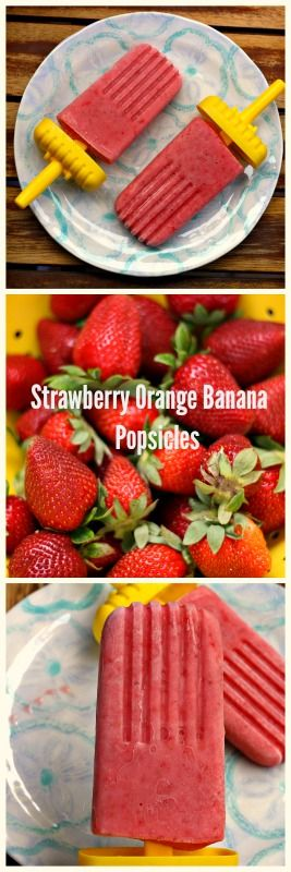 Strawberry Orange Banana Popsicles. 5 ingredients simple and healthy.  The perfect treat on a warm day. #strawberries #banana #orange #yogurt #honey #homemadepopsicleshealthy