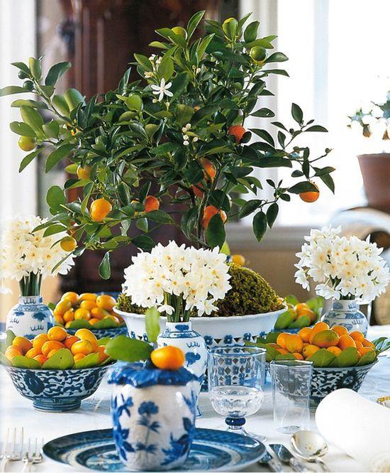 blue and white with orange. carolyne