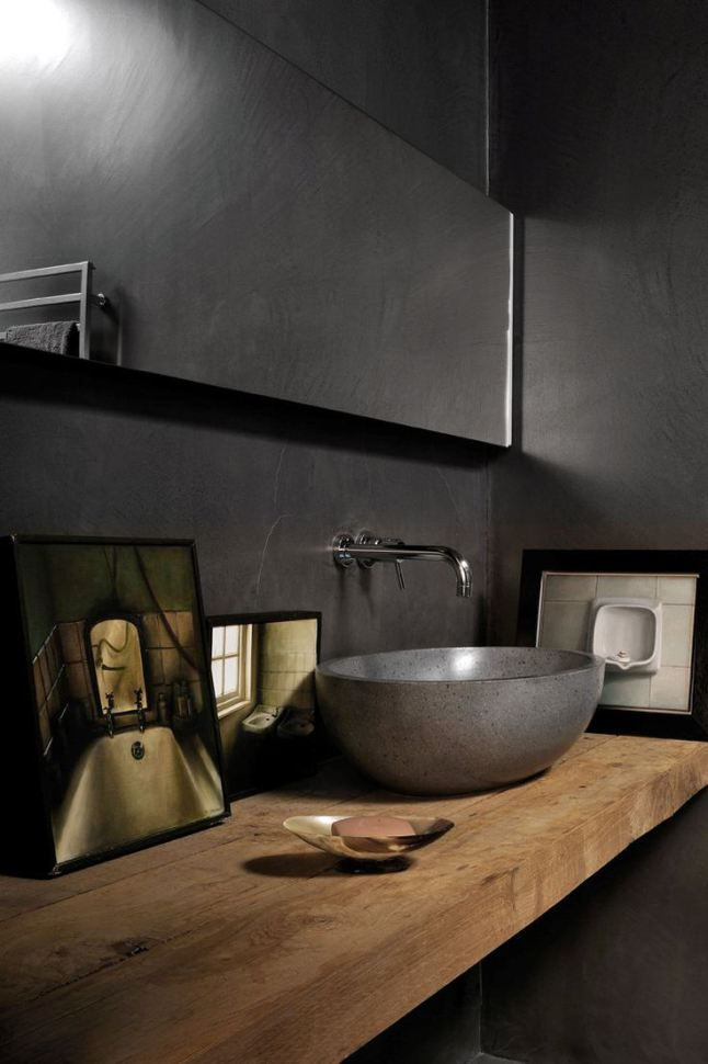 dark grey tile walls and natural colour wood bench Badrum