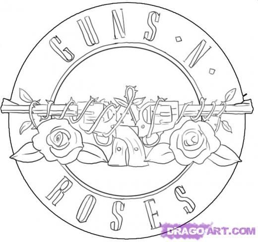 Guns And Roses Coloring Pages Pictures