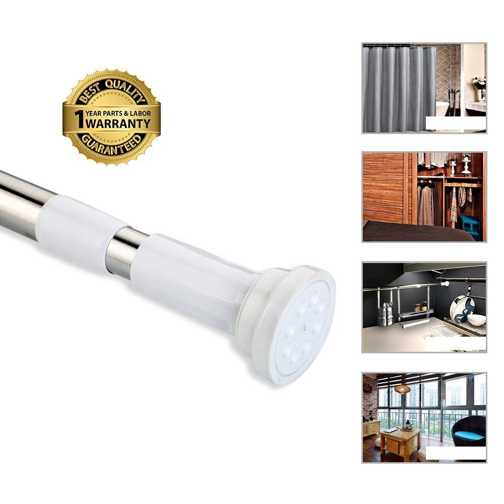 Amazon.com: Tension Rod Curtain Shower Adjustable Rod
