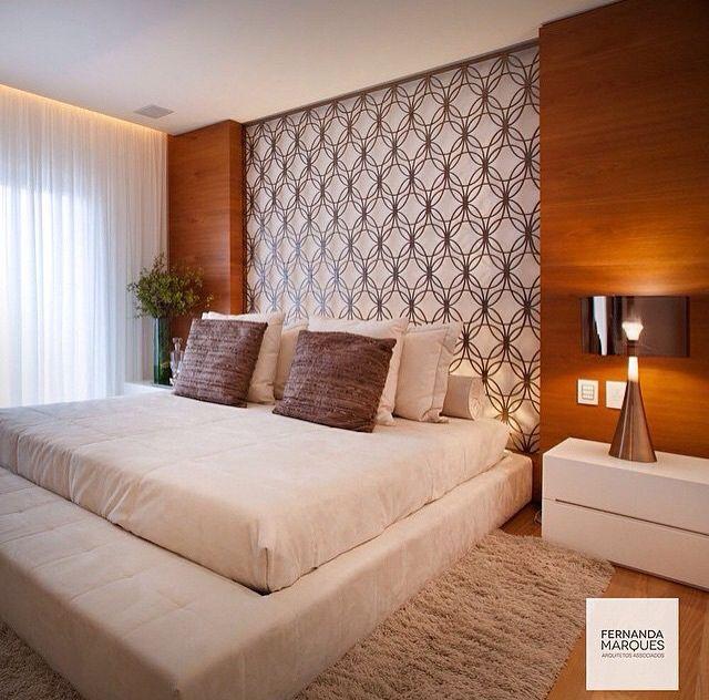 Quarto casal papel de parede madeira bedroom quartos - Papel decorado para paredes ...