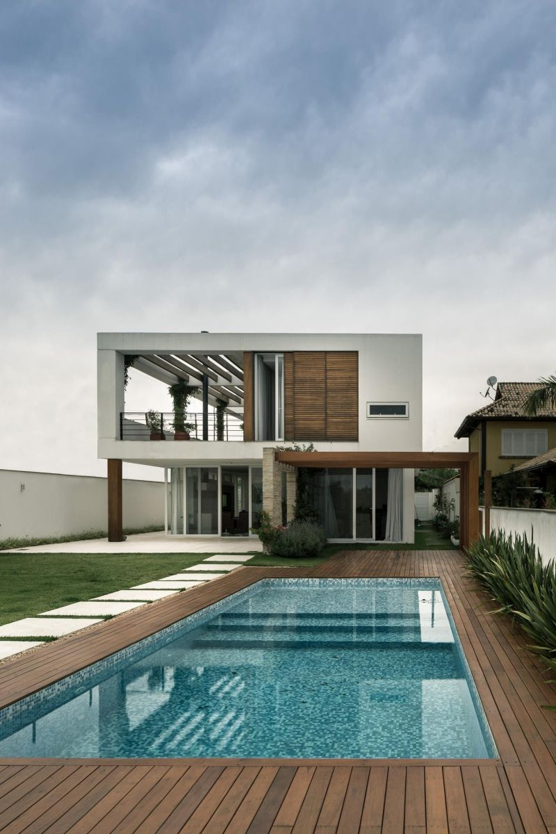 Modern wooden deck around pool house
