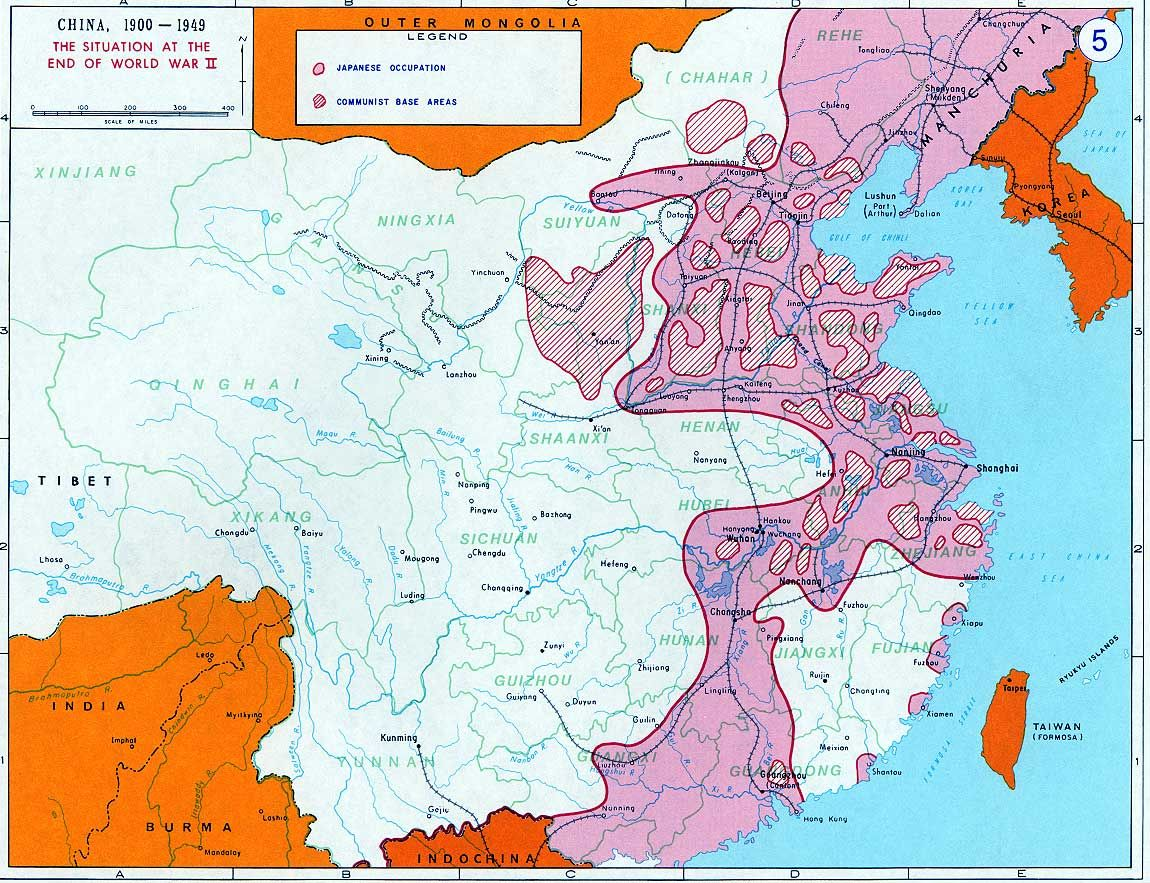 Communist Base Areas Within Japaneseoccupied Territory - Japan map 1945