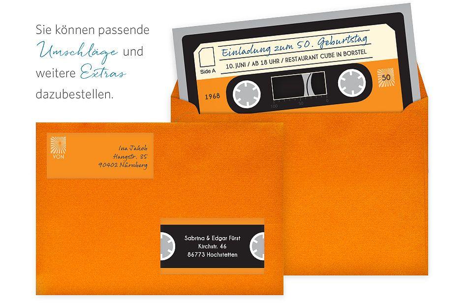 Einladungskarten 50 Geburtstag Kassette Geburtstagseinladungen Einladungen Einladung Geburtstag