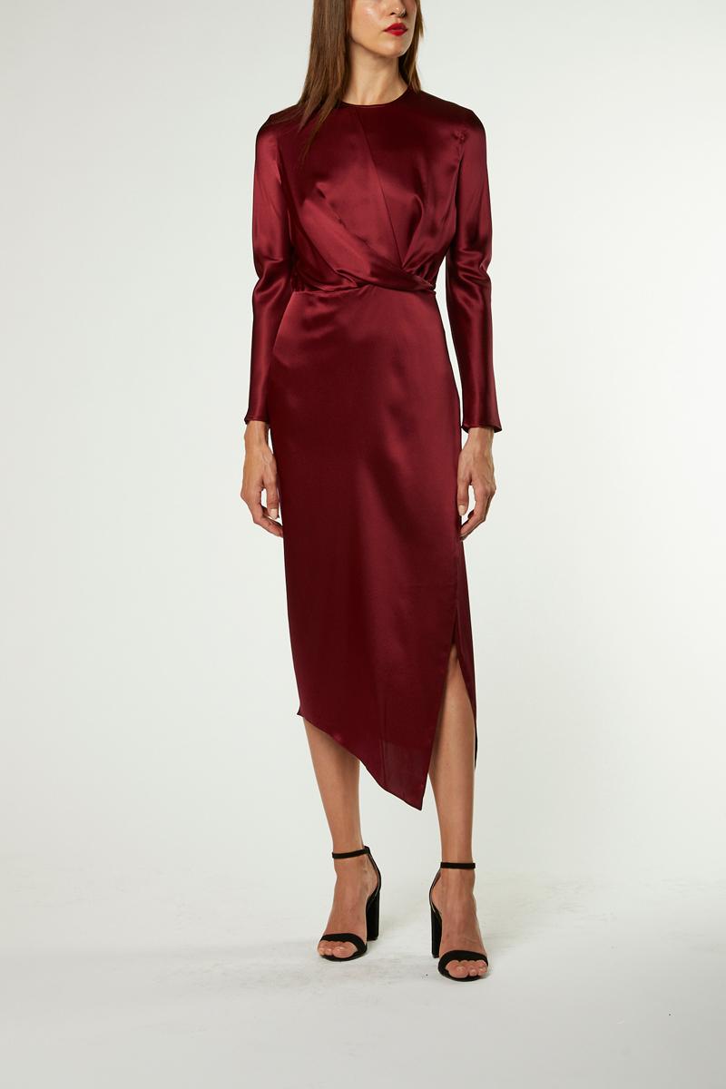 Origami Midi Dress Wine Dresses Perfect Dress Long Sleeve Midi Dress [ 1200 x 800 Pixel ]