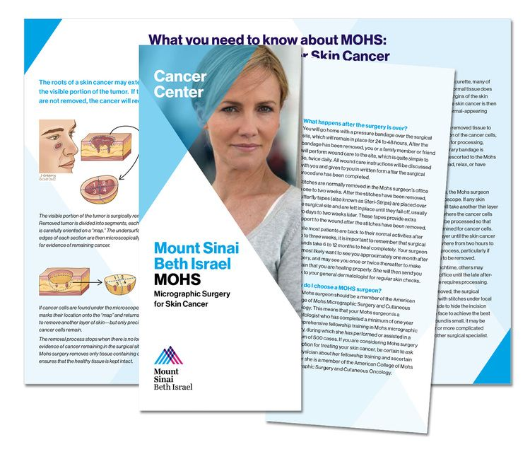 A brochure explaining MOHS Micrographic Surgery for Skin Cancer - healthcare brochure
