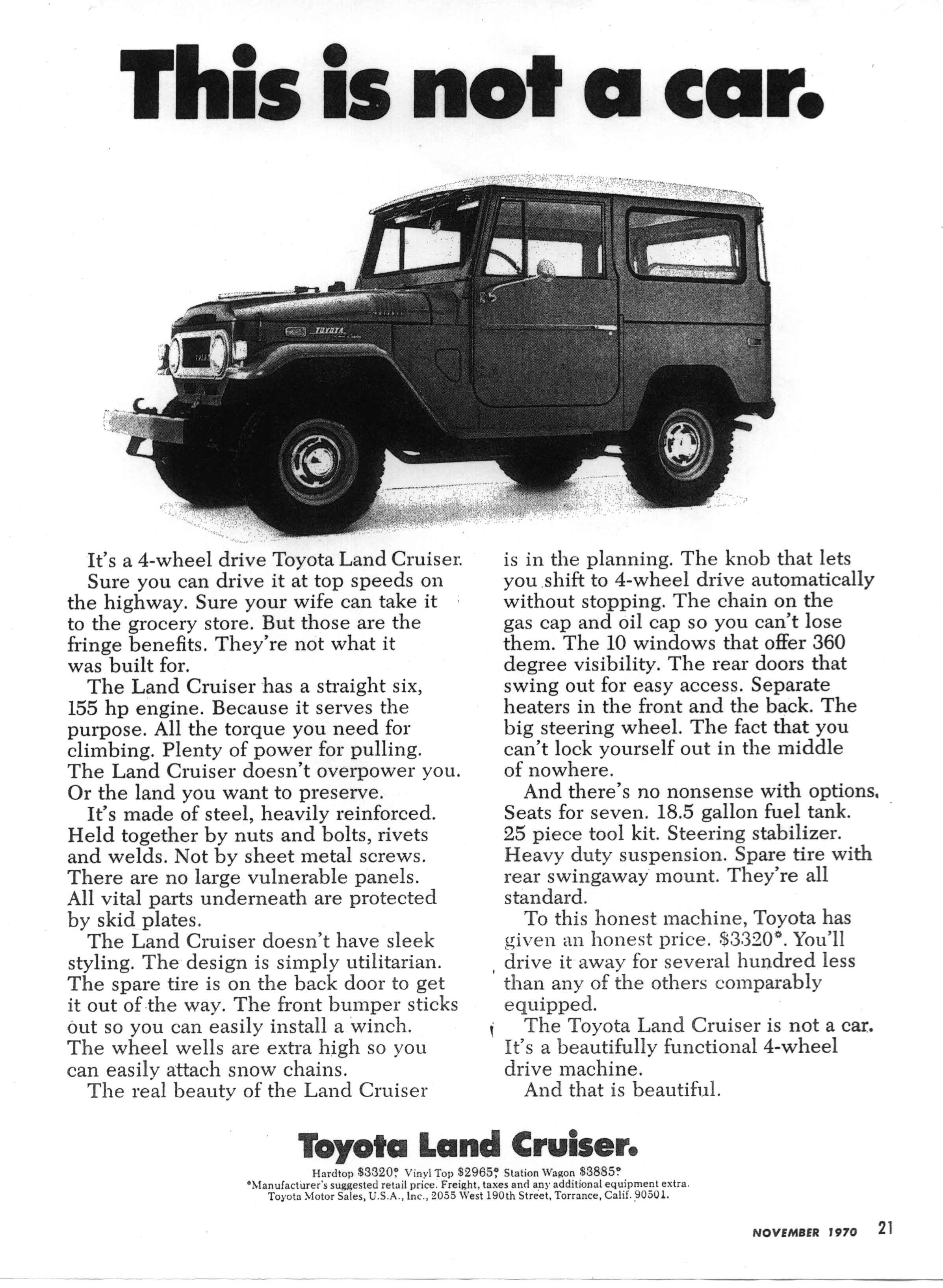 Old toyota ad this is not a car nor is it a jeep or toyota jeep
