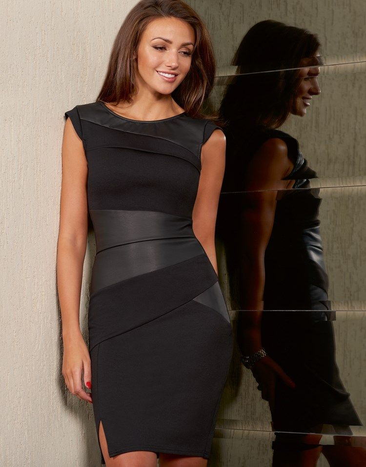 5f45b9dca73 Michelle Keegan Faux Leather Pleated Shift Dress