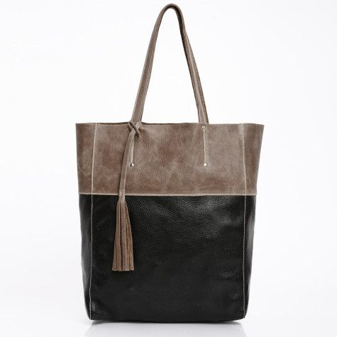 leather french tote bag. roots canada.