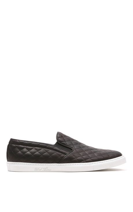 d30c24c21346 Black Quilted Leather Slip On Sneaker With White Sole by Del Toro - Moda  Operandi