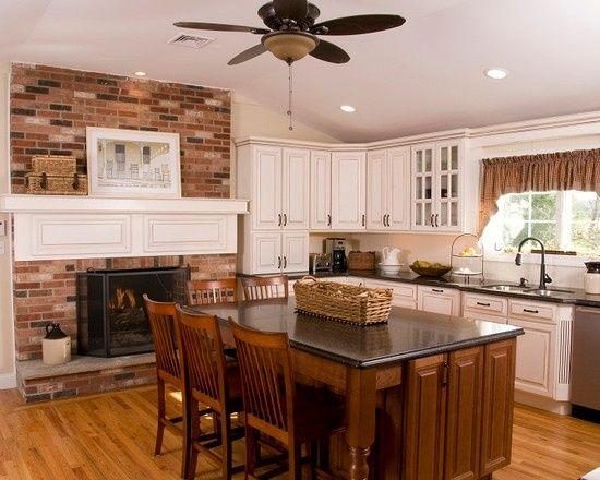 Kitchens With Fireplaces Design Pictures Remodel Decor And