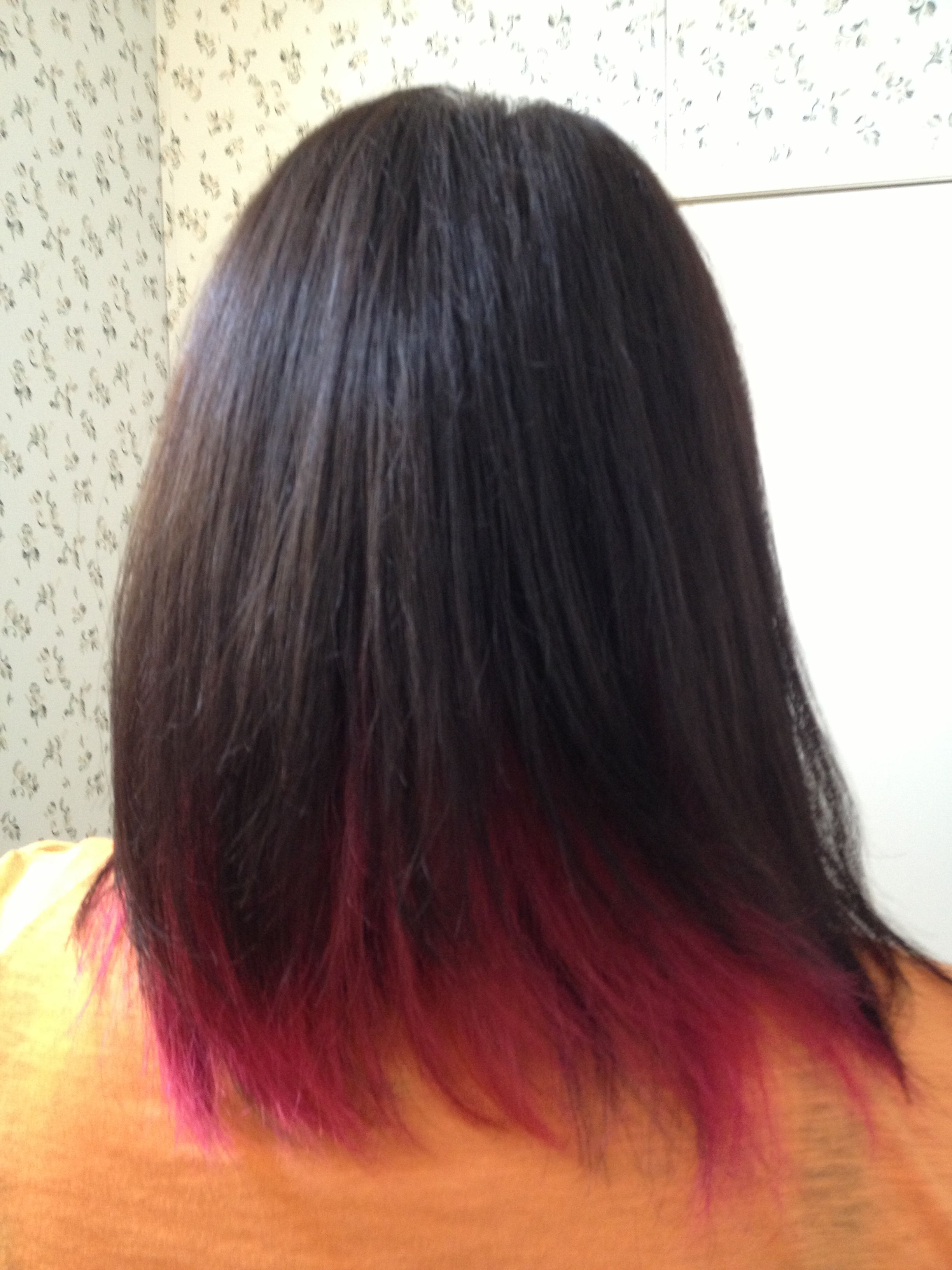 pink under dark brown hair