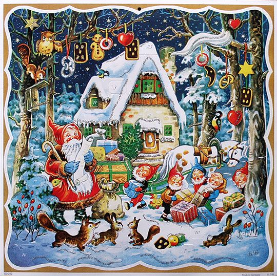 Vintage Advent Calendar ~ Santa Elves Checking List