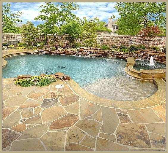Mansion Luxury Pools With Waterfalls: Swimming Pool With Beautiful Stonework...