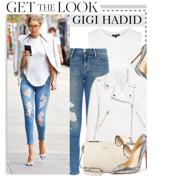 Celebrity Look: Gigi Hadid by monmondefou on Polyvore featuring moda, Topshop, MANGO, Frame Denim, Christian Louboutin, Kate Spade, Shauns, celebrity, CelebrityLook and CelebrityStyle