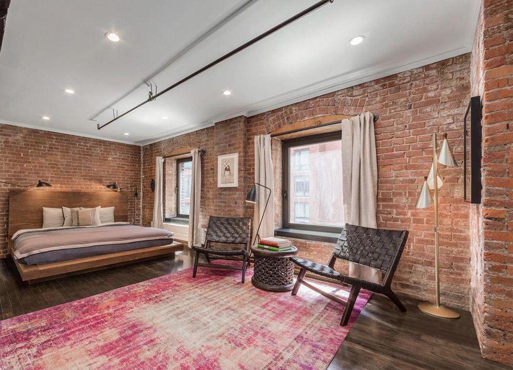 Jason Biggs Nyc Loft For Sale Listing Pictures Price Brick Wall Bedroom Loft Apartment Designs Brick Bedroom